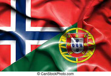 Waving flag of Portugal and Norway
