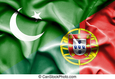 Waving flag of Portugal and Pakistan
