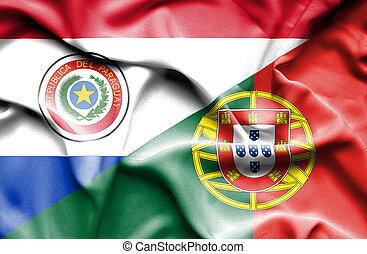 Waving flag of Portugal and Paraguay