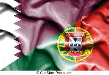 Waving flag of Portugal and Qatar