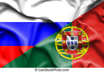 Waving flag of Portugal and Russia