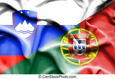 Waving flag of Portugal and Slovenia