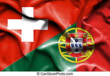 Waving flag of Portugal and Switzerland - Waving flag of...