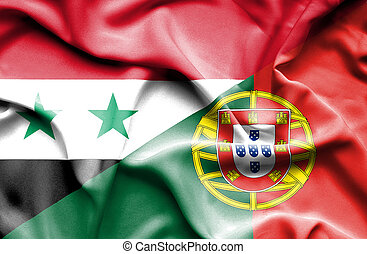 Waving flag of Portugal and Syria