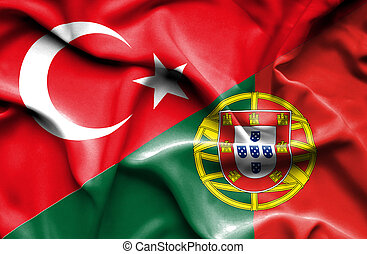 Waving flag of Portugal and Turkey