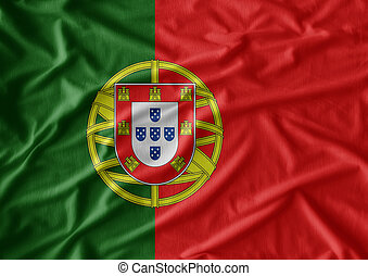 Waving flag of Portugal. Flag has real fabric texture