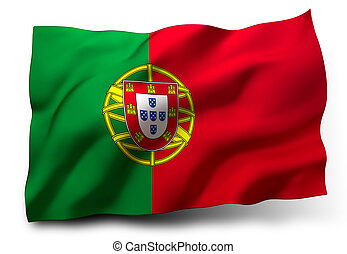 flag of Portugal - Waving flag of Portugal isolated on white...