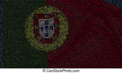 Waving flag of Portugal made of text symbols on a computer screen. Conceptual loopable animation