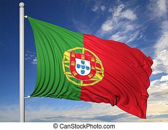 Waving flag of Portugal on flagpole, on blue sky background.