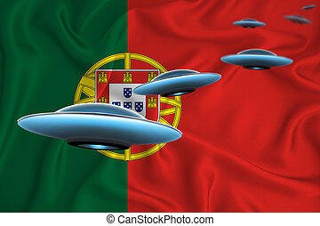 Waving flag of Portugal. UFO group on the background of the flag. UFO news concept in the country. 3D rendering