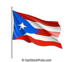 Waving flag of Puerto Rico in Caribbean sea