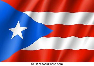 Waving flag of Puerto Rico in Caribbean sea. Patriotic...