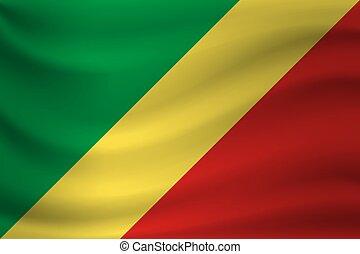 Waving flag of Republic Congo. Vector illustration