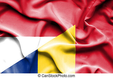 Waving flag of Romania and Indonesia