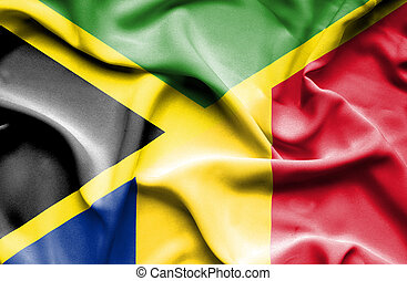 Waving flag of Romania and Jamaica