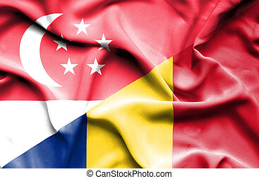 Waving flag of Romania and ,Singapore