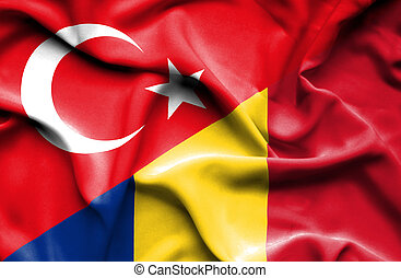 Waving flag of Romania and Turkey