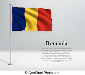 Waving flag of Romania on flagpole. Template for independence day
