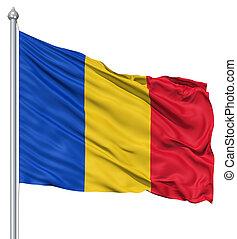 Waving flag of Romania - Flag of Romania with flagpole...
