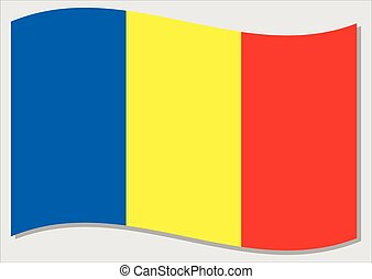 Waving flag of Romania vector graphic. Waving Romanian flag illustration. Romania country flag wavin in the wind is a symbol of freedom and independence.