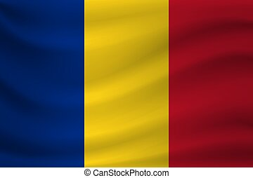 Waving flag of Romania. Vector illustration