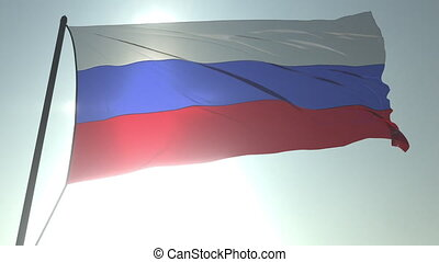 Waving flag of Russia against shining sun and sky. Realistic loopable 3D animation