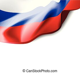 Waving flag of Russia close-up with shadow on white background. Vector illustration with copy space