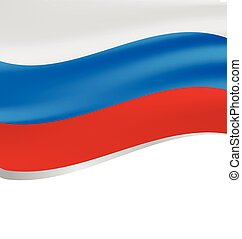 Waving flag of Russia isolated on white background