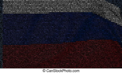 Waving flag of Russia made of text symbols on a computer...