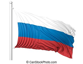 Waving flag of Russia on flagpole, isolated on white background.