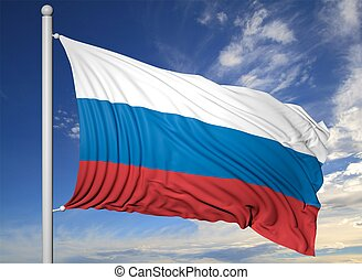 Waving flag of Russia on flagpole, on blue sky background.