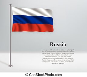 Waving flag of Russia on flagpole. Template for independence day