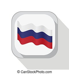 Waving flag of Russia on the button. Vector illustration.