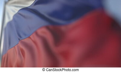 Waving flag of Russia, shallow focus close-up. Realistic loopable 3D animation