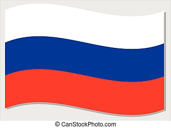 Waving flag of Russia vector graphic. Waving Russian flag illustration. Russia country flag wavin in the wind is a symbol of freedom and independence.