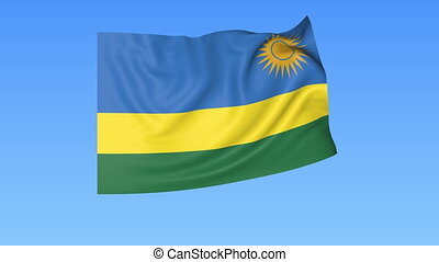 Waving flag of Rwanda, seamless loop. Exact size, blue background. Part of all countries set. 4K ProRes with alpha.