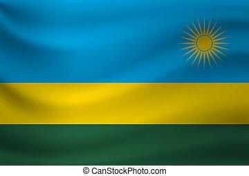 Waving flag of Rwanda. Vector illustration