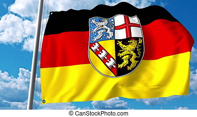 Waving flag of Saarland a state of Germany