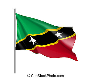 Waving flag of Saint Kitts
