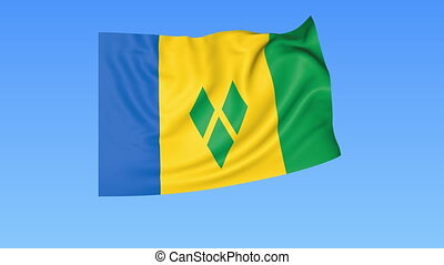 Waving flag of Saint Vincent and the Grenadines, seamless...