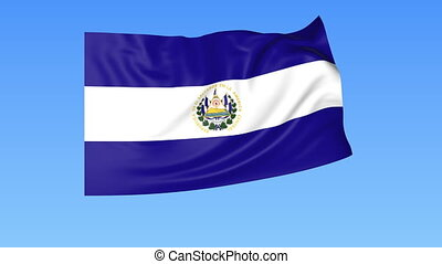 Waving flag of Salvador, seamless loop. Exact size, blue...