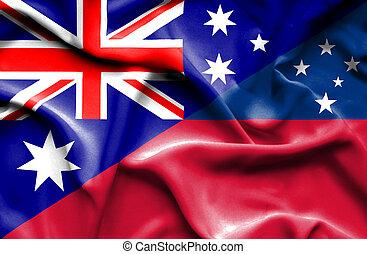 Waving flag of Samoa and Australia