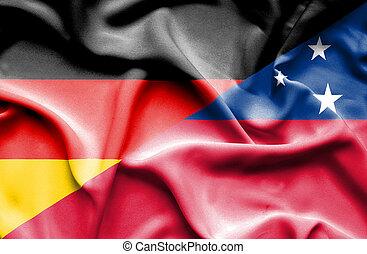 Waving flag of Samoa and Germany