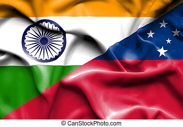 Waving flag of Samoa and India