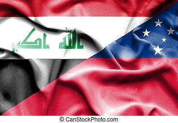 Waving flag of Samoa and Iraq