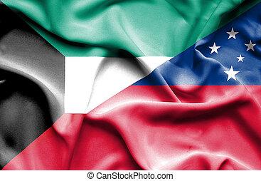 Waving flag of Samoa and Kuwait