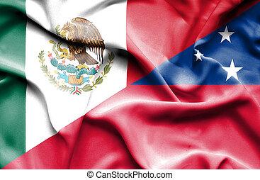 Waving flag of Samoa and Mexico