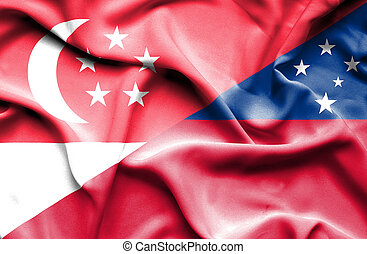 Waving flag of Samoa and Singapore