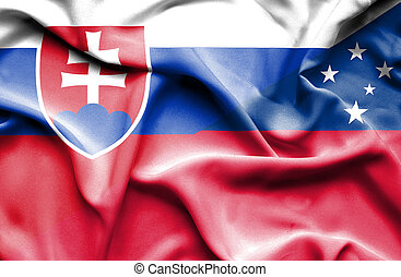 Waving flag of Samoa and Slovak