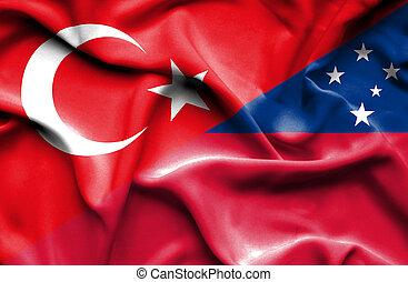 Waving flag of Samoa and Turkey
